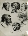 "Image of [Six Heads], from the series ""Book for the Study of Drawings"""